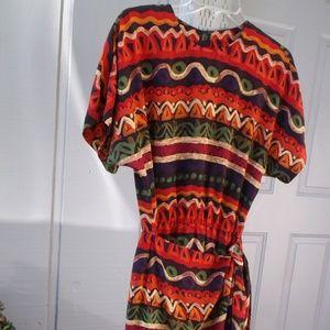 VTG Maggy London 100% Silk wrap geo print Dress 8